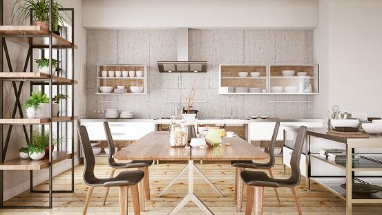 Brick Wall「Loft Kitchen with Dining Table」:スマホ壁紙(2)