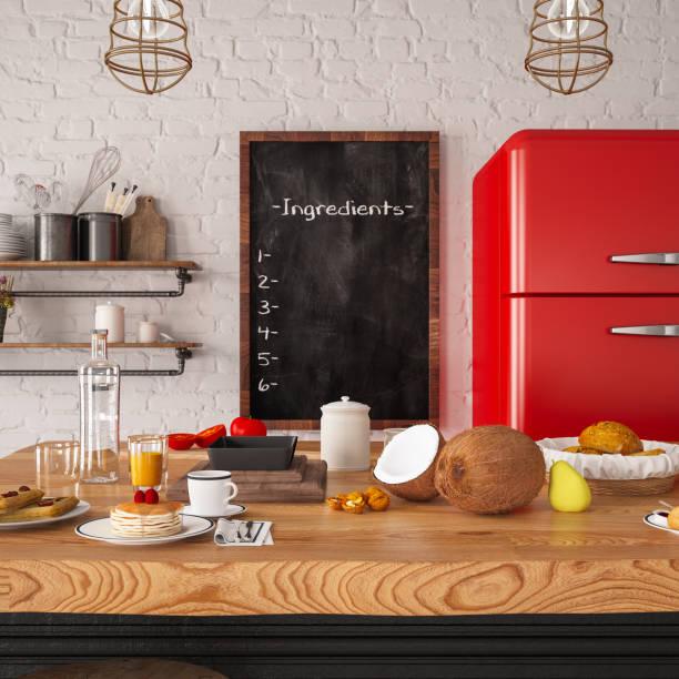 Loft Kitchen with Ingedients Board:スマホ壁紙(壁紙.com)