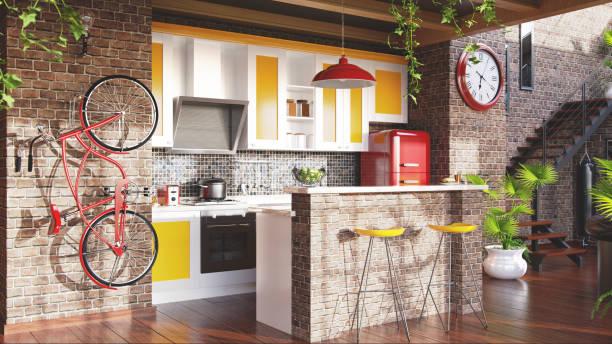 Loft kitchen concept:スマホ壁紙(壁紙.com)