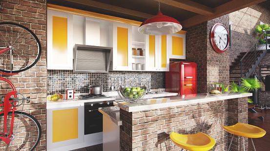 Brick Wall「Loft kitchen concept」:スマホ壁紙(12)