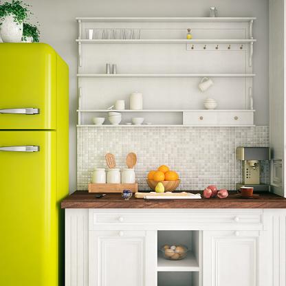 Green Color「Loft Kitchen」:スマホ壁紙(4)