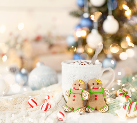 Candy Cane「Christmas gingerbread man cookies and hot chocolate」:スマホ壁紙(6)