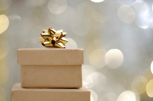 Gold Colored「Christmas gift with illuminated background」:スマホ壁紙(0)