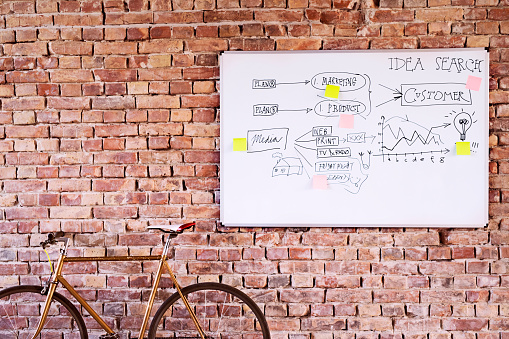 Concepts & Topics「Bicycle and whiteboard with keywords at brick wall in office」:スマホ壁紙(14)