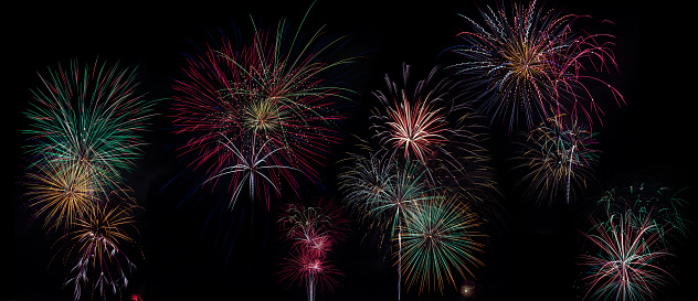 Fourth of July「Panoramic of Colorful Fireworks」:スマホ壁紙(14)