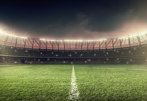 Grass「soccer field with illumination and night sky」:スマホ壁紙(7)