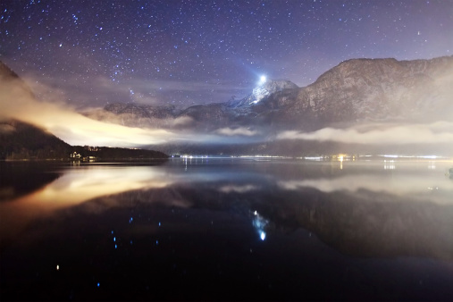 Dachstein Mountains「Night lake, Austria」:スマホ壁紙(16)