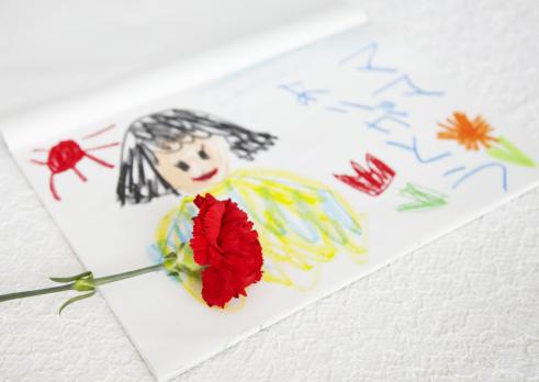 母の日「Carnation and crayon drawing」:スマホ壁紙(13)