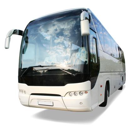 Tour Bus「Large white travel bus on white background」:スマホ壁紙(15)
