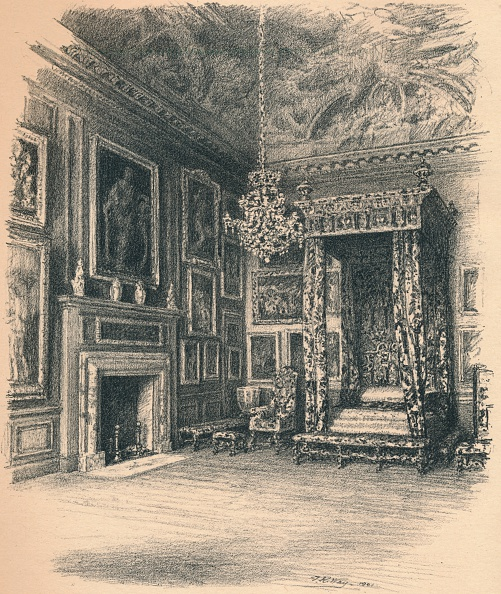 Bedroom「'Queen Anne's Bedchamber, Hampton Court Palace', 1902」:写真・画像(4)[壁紙.com]