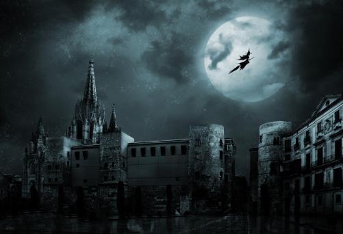 ハロウィン「幽霊には、空の街」:スマホ壁紙(13)