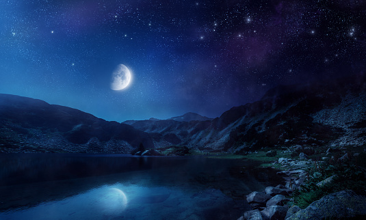 Moon「Night shot of lake」:スマホ壁紙(0)