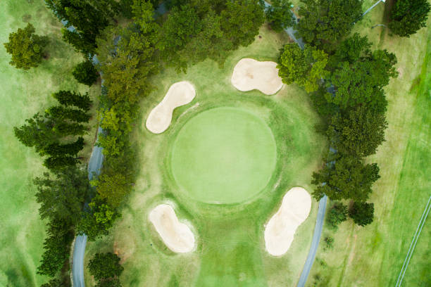 Aerial photograph of a golf course on a sunny day.:スマホ壁紙(壁紙.com)