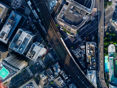 Railroad Track「Aerial photography of Sukiyabashi」:スマホ壁紙(10)