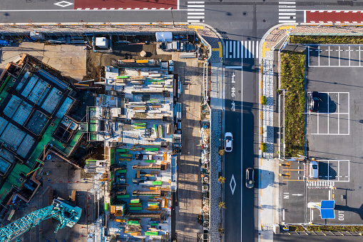 Parking Lot「Aerial photograph of building construction site and parking lot.」:スマホ壁紙(19)