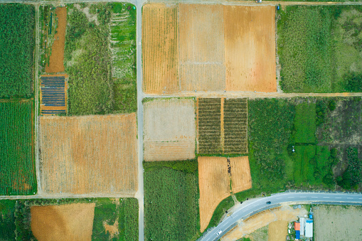 Satoyama - Scenery「Aerial photograph of the land where fields etc. are lined up.」:スマホ壁紙(11)