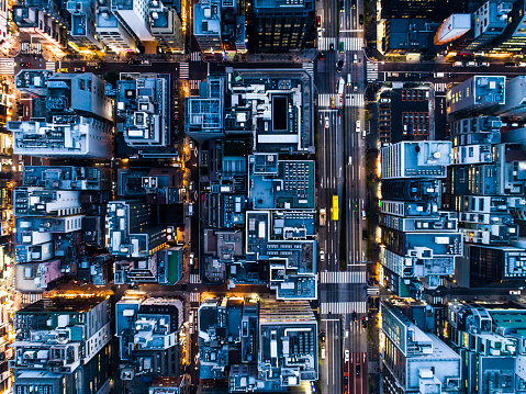 Alley「Aerial photograph of city of night and straight road.」:スマホ壁紙(18)