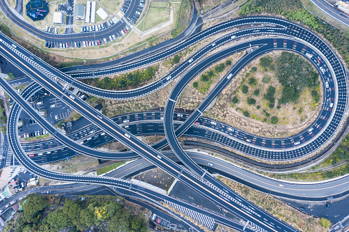 Elevated Road「Aerial photograph of a highway crossing complicatedly.」:スマホ壁紙(0)