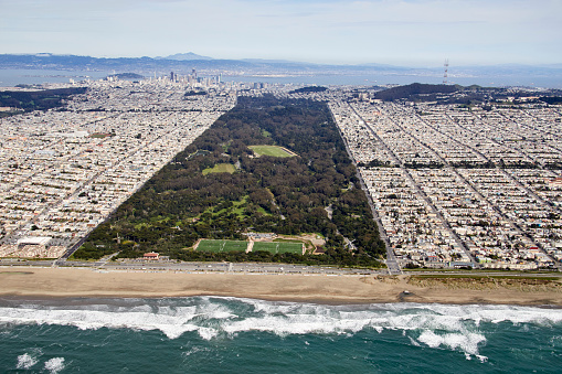 Wave「Aerial photography view east of Golden Gate Park,  South Sunset District, San Francisco Bay Area. California, United States.」:スマホ壁紙(7)