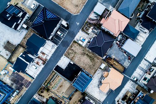 観賞用庭園「住宅地の航空写真。」:スマホ壁紙(8)