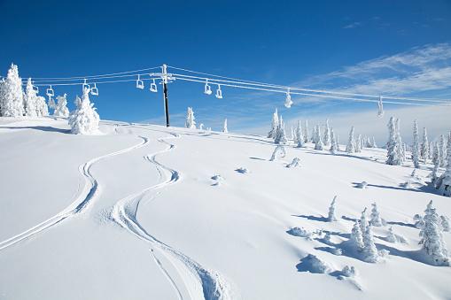 Gondola「Woman enjoys sunny powder day while skiing in Whitefish, Montana」:スマホ壁紙(9)