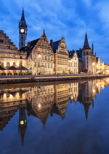 Belgium「Graslei Harbour at dusk, Ghent, Belgium」:スマホ壁紙(8)