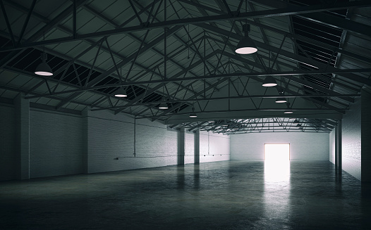 ������「Side view of an empty large warehouse interior」:スマホ壁紙(18)