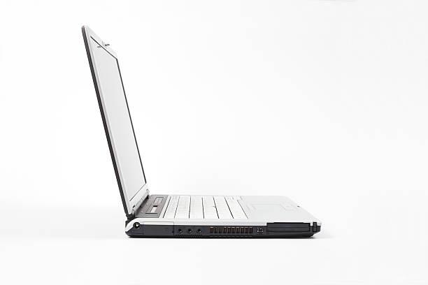 Side view of open laptop on white background:スマホ壁紙(壁紙.com)