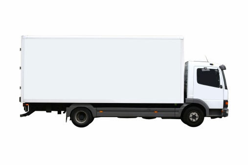 Crate「Side view of a plain white truck」:スマホ壁紙(18)