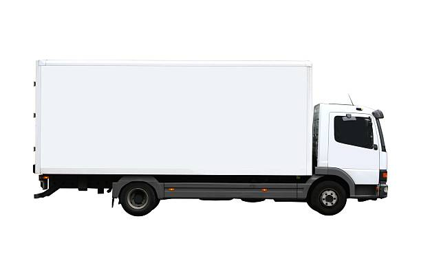Side view of a plain white truck:スマホ壁紙(壁紙.com)