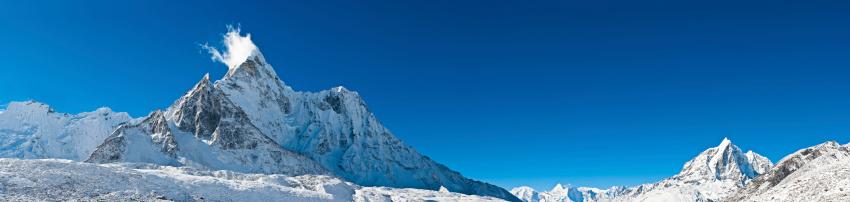 Khumbu「Snow mountain summits Himalaya peaks panorama Ama Dablam wilderness Nepal」:スマホ壁紙(6)