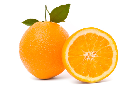 Clean「Ripe orange with leaves isolated on a white background」:スマホ壁紙(5)