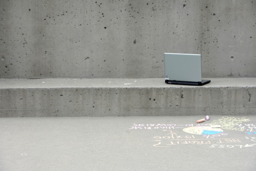Chalk - Art Equipment「Laptop outside building with writing on sidewalk」:スマホ壁紙(15)
