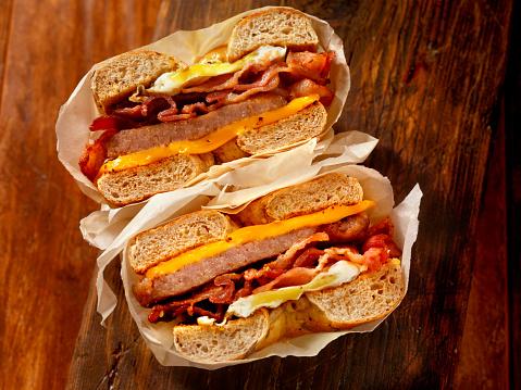 Breakfast「Bagel, Bacon, Sausage and Egg Breakfast Sandwich」:スマホ壁紙(6)