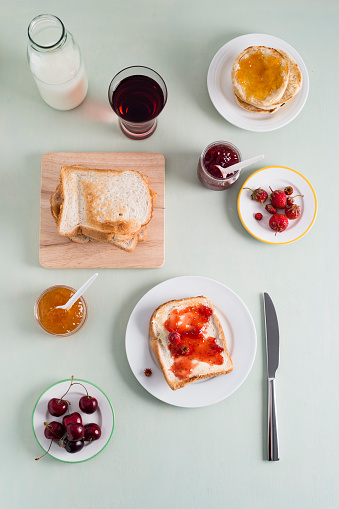 Grape Juice「Toast with strawberry jam, toasties with apricot jam, strawberries and cherries, milk bottle」:スマホ壁紙(8)