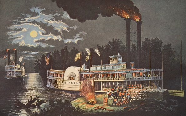 Steamboat「Wooding Up' On The Mississippi」:写真・画像(2)[壁紙.com]