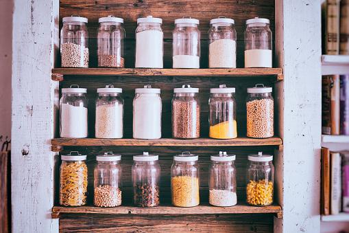 Storage Compartment「Jars of ingredients on wooden shelves」:スマホ壁紙(16)