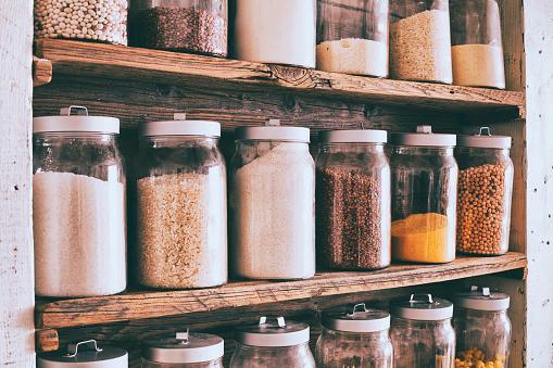 Jar「Jars of ingredients on wooden shelves」:スマホ壁紙(10)