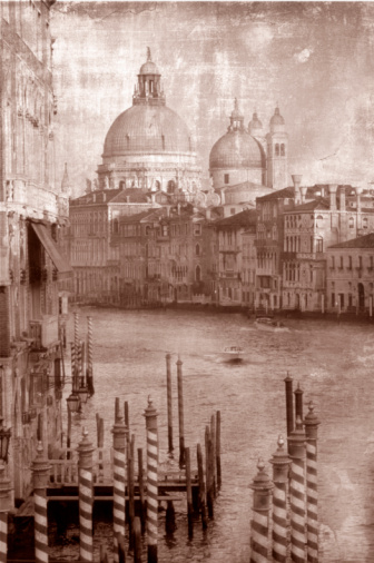 Sepia Toned「view down grand canal, old styling look」:スマホ壁紙(1)