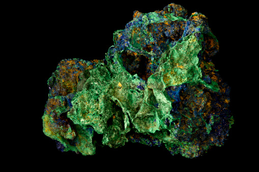 Silicon「Geology Azurite and Malachite Mineral Sample Isolated on Black」:スマホ壁紙(16)