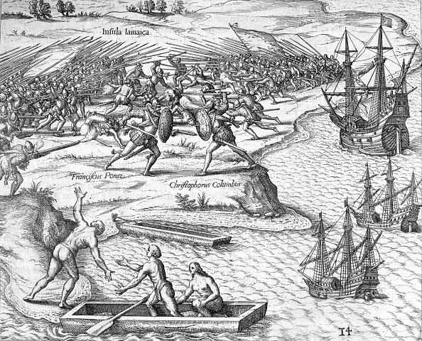 Christopher Columbus - Explorer「Battle In Jamaica Between Christopher Columbus And Francisco Poraz 1504 (1631)」:写真・画像(17)[壁紙.com]