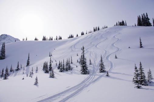 Back Country Skiing「Ski tracks in alpine.」:スマホ壁紙(16)