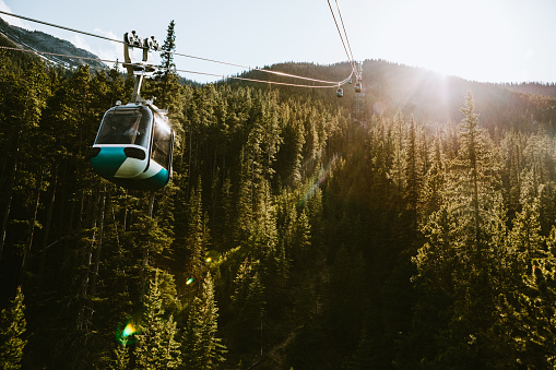 Aerial tramway「Gondola Lift Going Up Mountain in Banff Canada」:スマホ壁紙(16)
