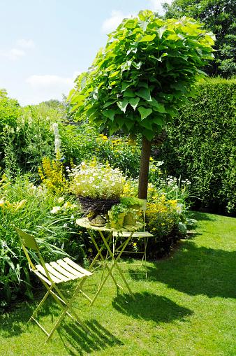 Ornamental Garden「Tranquil sitting corner with catalpa tree,folding chairs,side table」:スマホ壁紙(18)