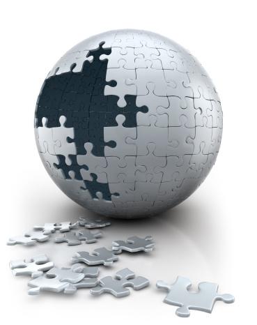 世界地図「球状パズルの進行中-ニュートラルホワイト(クリッピングパス」:スマホ壁紙(10)
