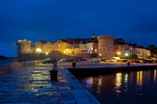 アドリア海「Croatia, Dalmatia, View of Korcula at night」:スマホ壁紙(15)