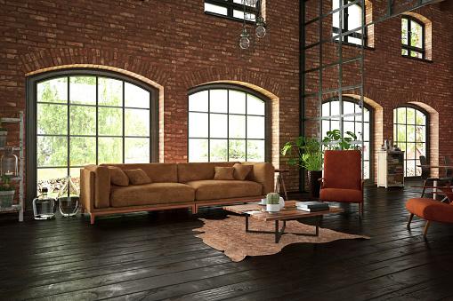 Brick Wall「Industrial Style Living Room with Brick Walls」:スマホ壁紙(3)