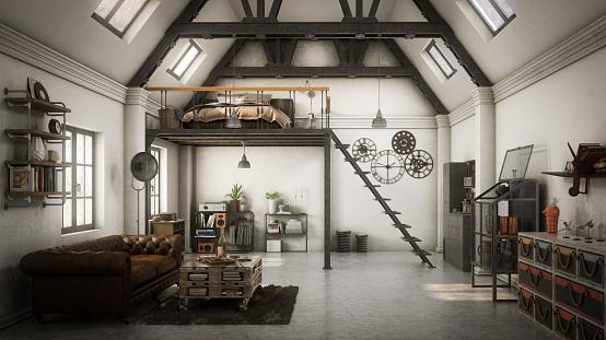 Chesterfield Sofa「Industrial Style Loft Apartment」:スマホ壁紙(11)