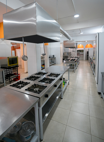 Commercial Kitchen「Industrial kitchen with different working areas」:スマホ壁紙(14)