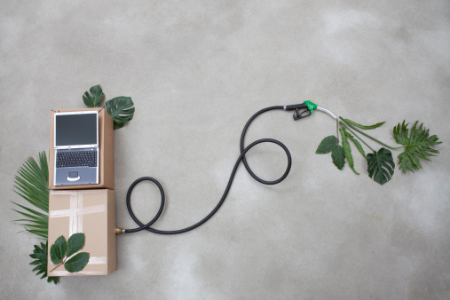 Industrial Hose「Industrial hose, laptop, leaf and cardboard box forming petrol pump on gray background」:スマホ壁紙(19)